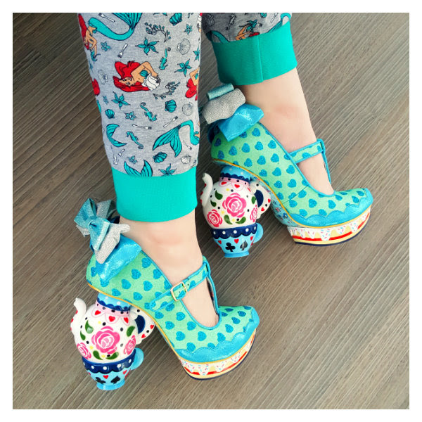 wearing irregular choice my cup of tea blue shoes