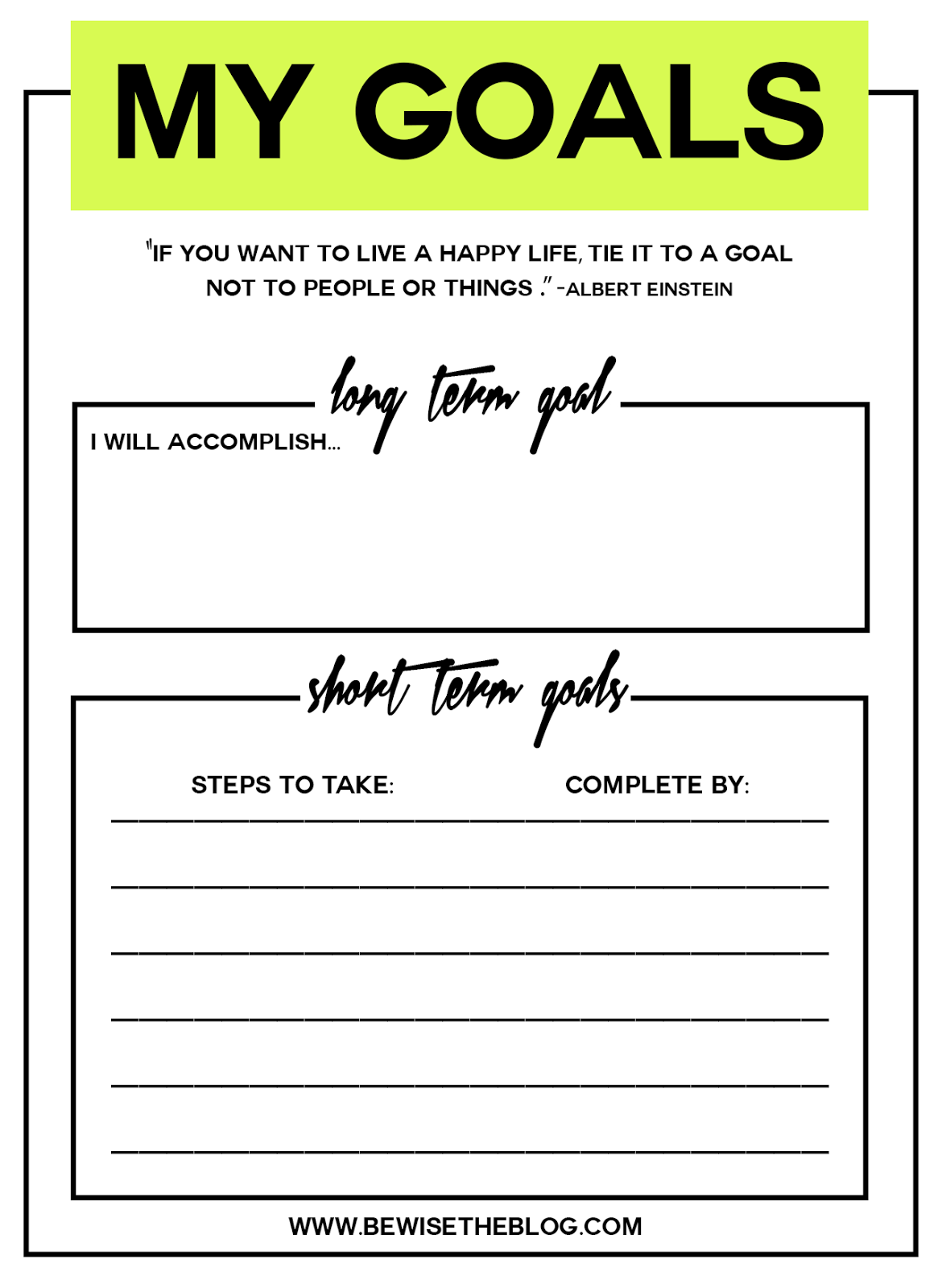 Be Wise How To Set Goals And Achieve Them Free Printables