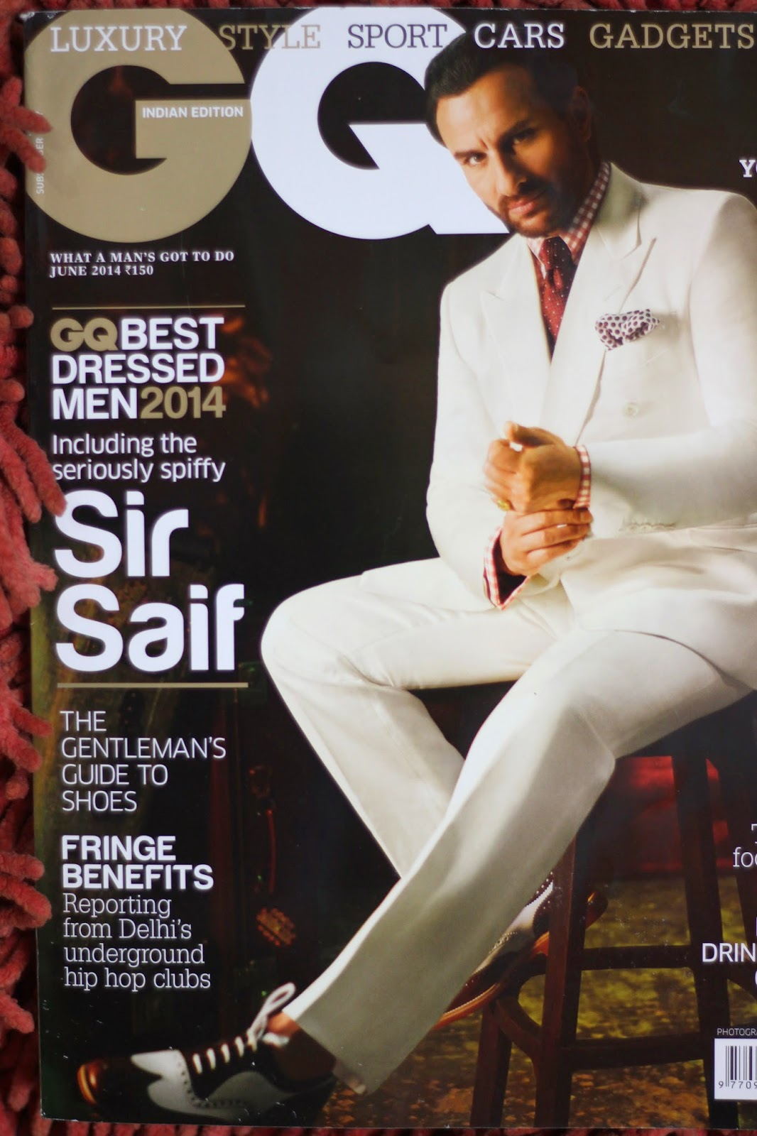 9cbe05cfcf Saif Ali Khan in Double Breasted White Suit Covers GQ India June ...