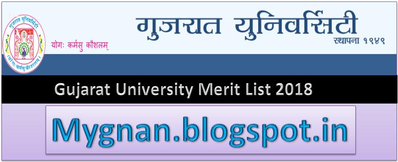 Gujarat University Merit List 2018 & Gujarat Uni B A, B Com Merit