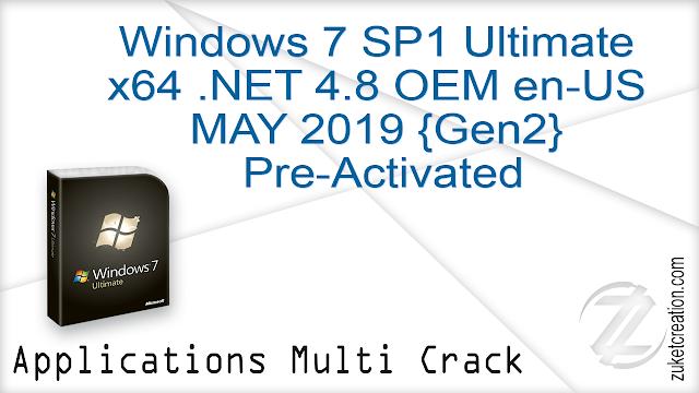 Windows 7 SP1 Ultimate X64 .NET 4.8 OEM en-US MAY 2019 {Gen2} Pre-Activated   |  2.68 GB