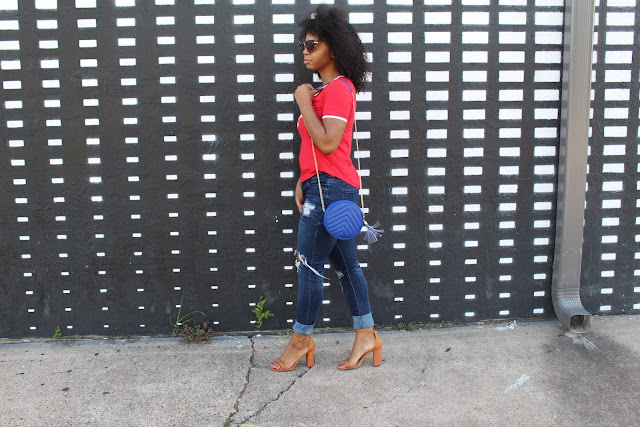 StyleGuruZak Coca Cola Tee shirt outfit with Chunkey heel sandal
