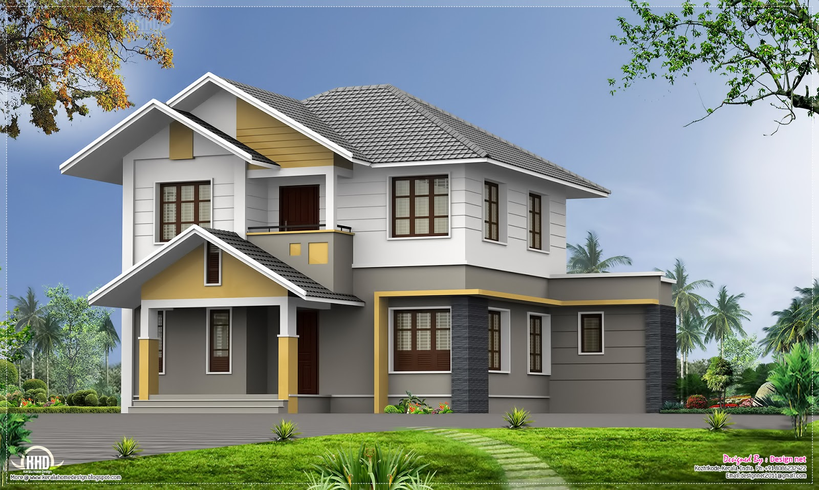 5 bhk beautiful kerala villa with sloping roofs home for Elevation of kerala homes