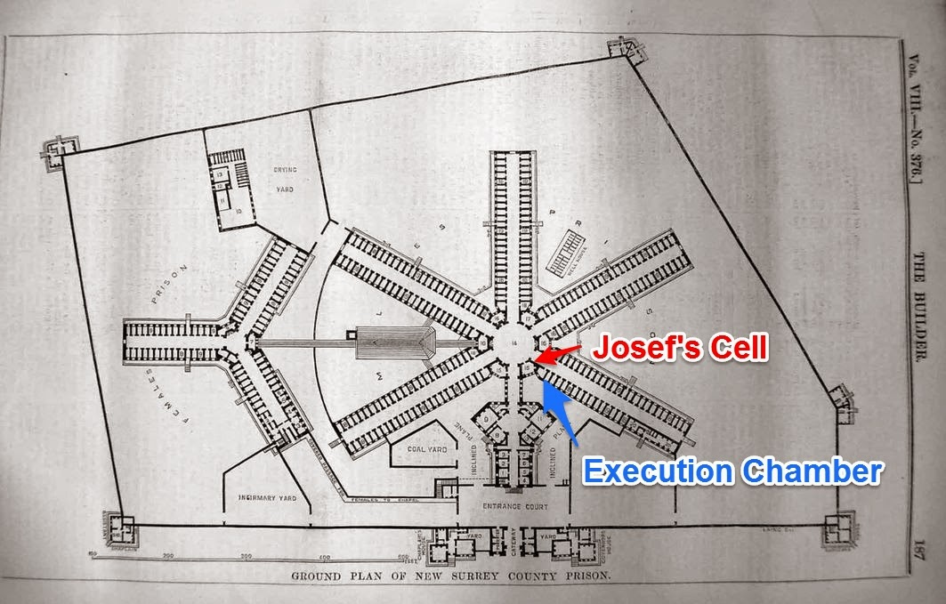 1851 Plan for Wandsworth Prison - showing location of Josef's cell and execution chamber. (Wandsworth Prison Museum has a copy of the plan)