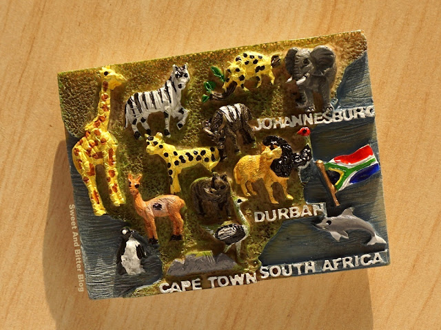 ape Town, South Africa Souvenir Fridge Magnet with Animals and Birds