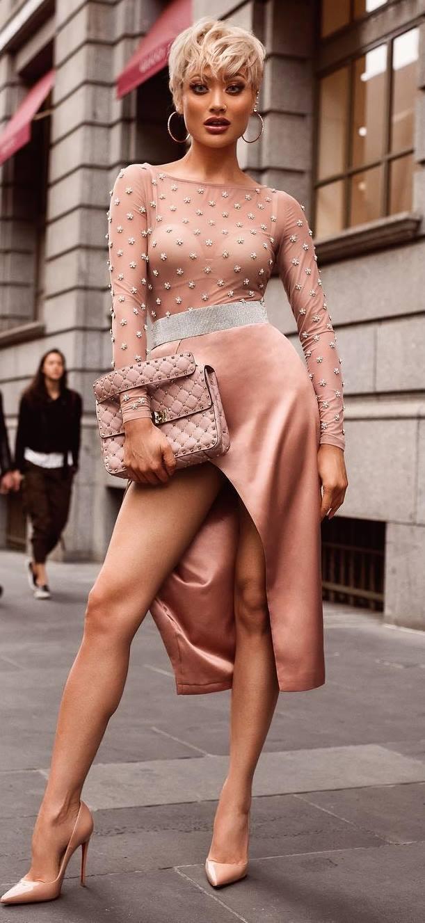blush trends_floral blouse + silk skirt + bag + heels