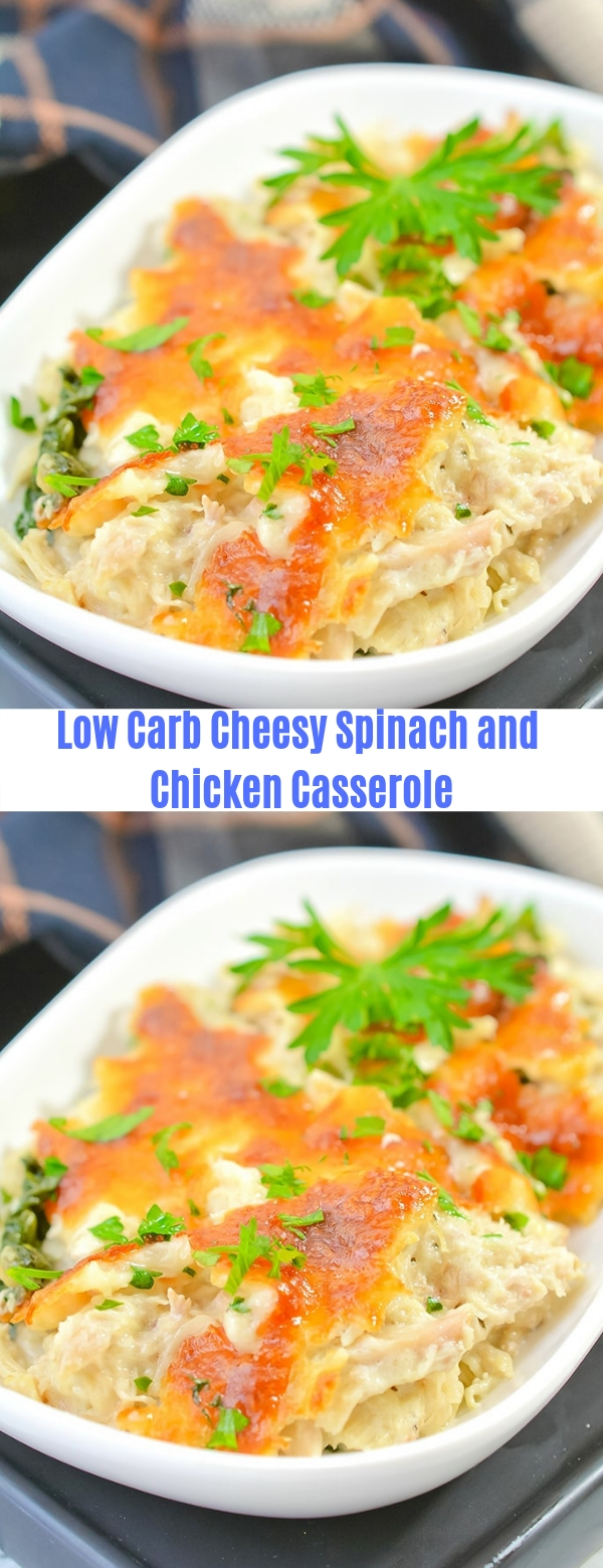 Low Carb Cheesy Spinach and Chicken Casserole