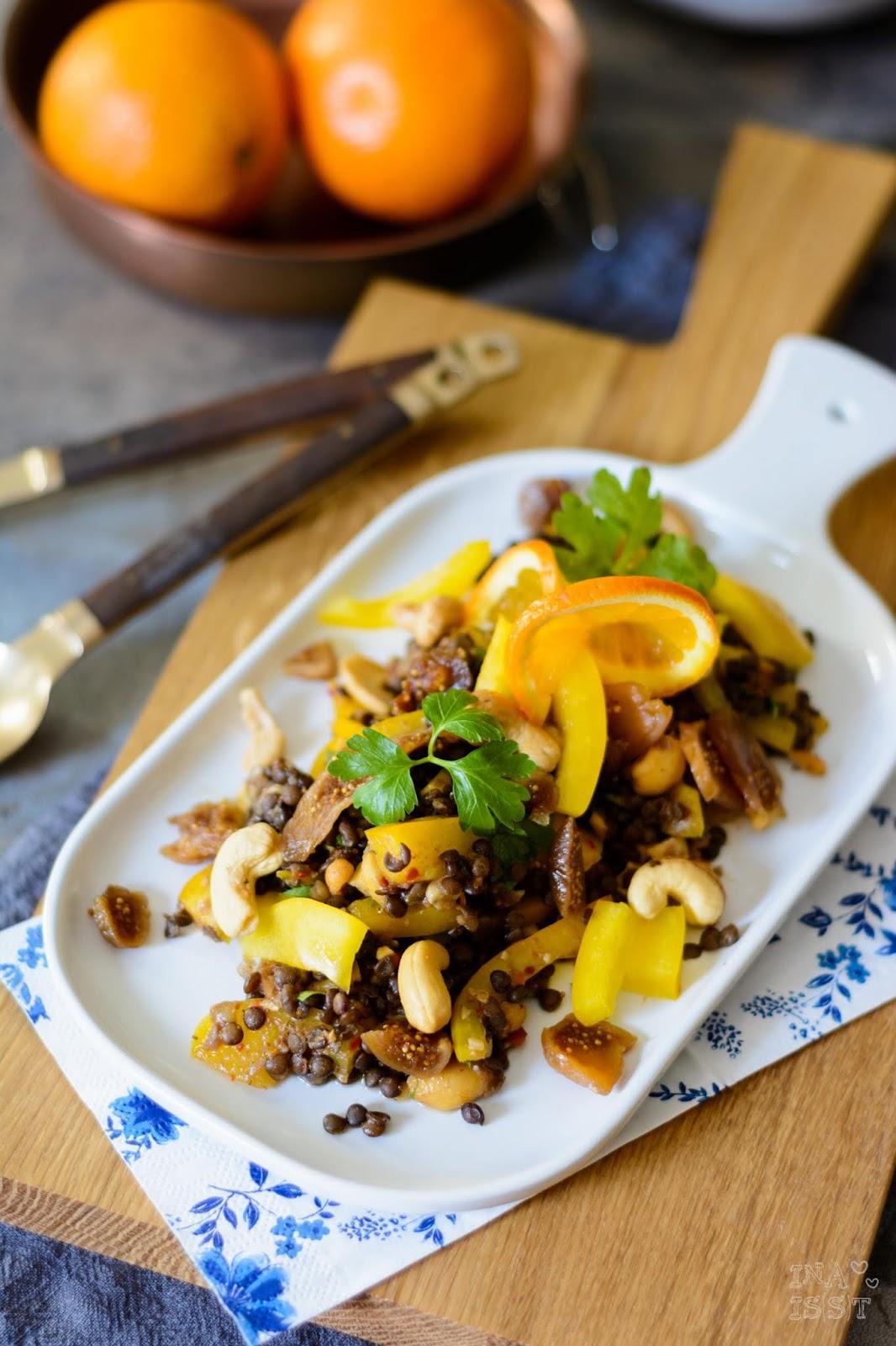 Rezept für Orientalischer Linsensalat mit Feigen und Cashewkernen, Dipster Nürnberg, Foodblog Nürnberg