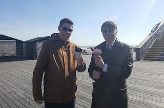 Enjoying my knitted Ice Cream alongside Hastings character John 'Big Top Ted' McIver