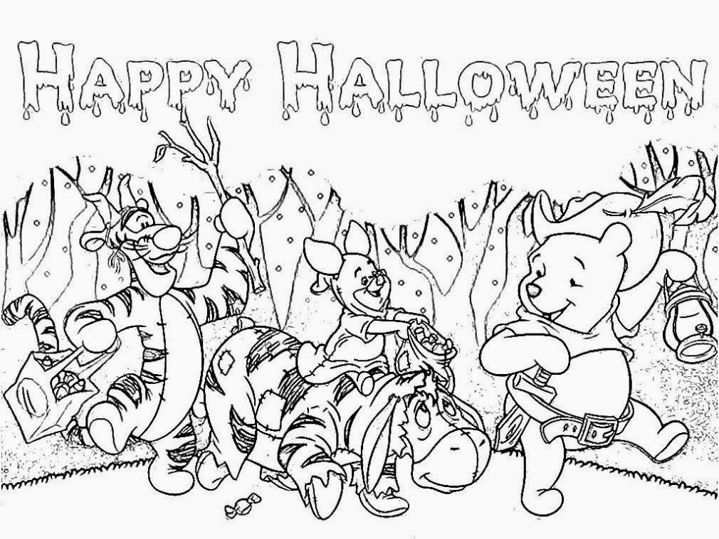 pooh holloween coloring pages - photo#12