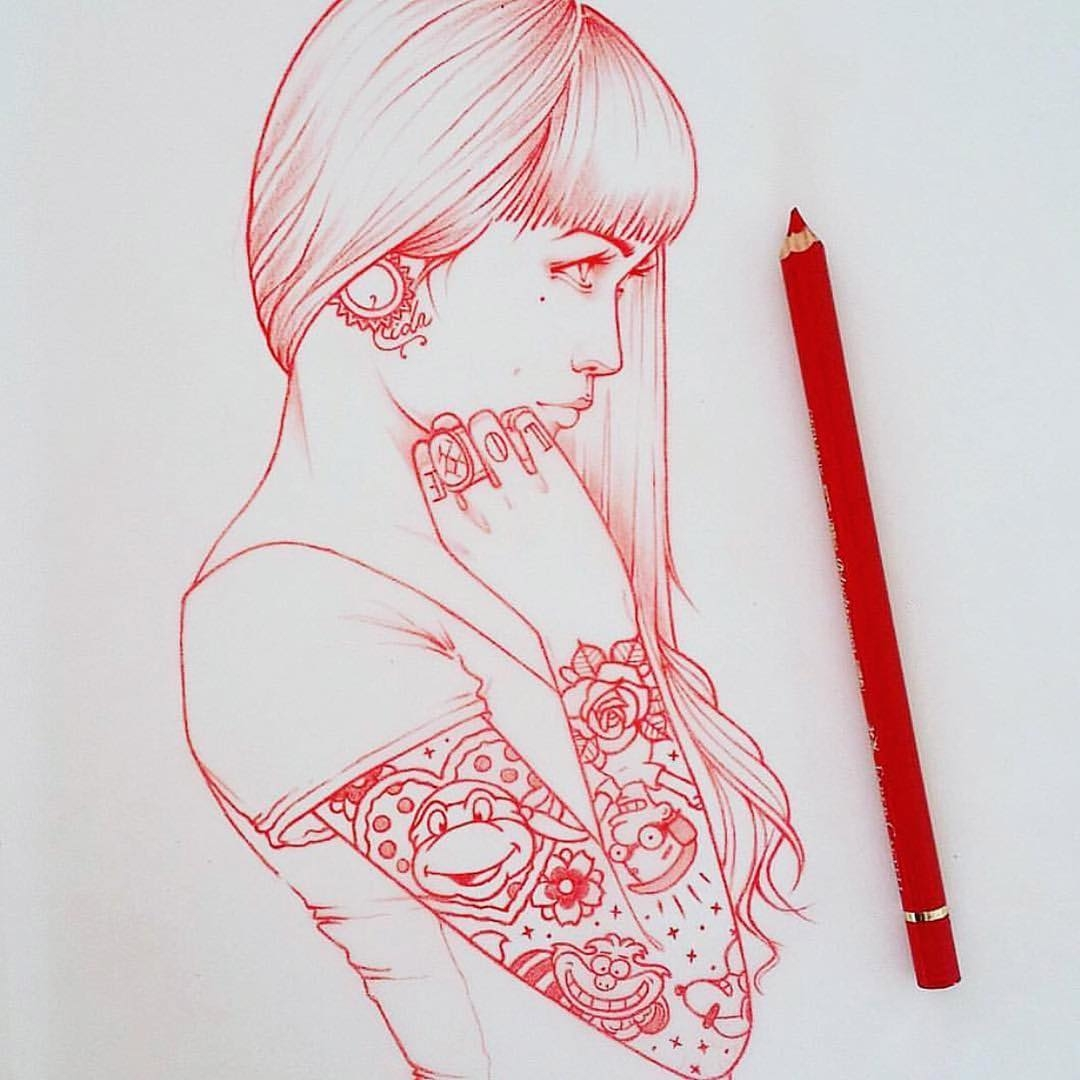 10-Tattoos-Rik-Lee-Blue-Red-and-Black-Line-Portrait-Sketches-www-designstack-co