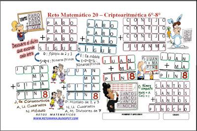 Retos matemáticos, Desafíos matemáticos, Problemas matemáticos, Criptoaritmética, Alfamética, Criptosuma