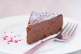 flourless chocolate cake in a plate