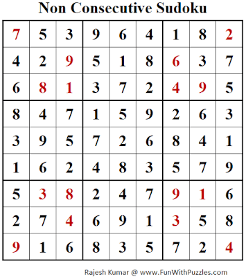 Answer of Non Consecutive Sudoku Puzzle (Fun With Sudoku #278)
