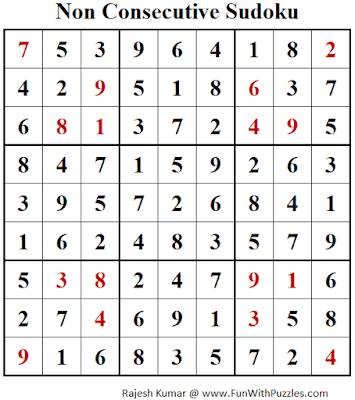 Answer of Non Consecutive Sudoku Puzzle (Fun With Sudoku #278)
