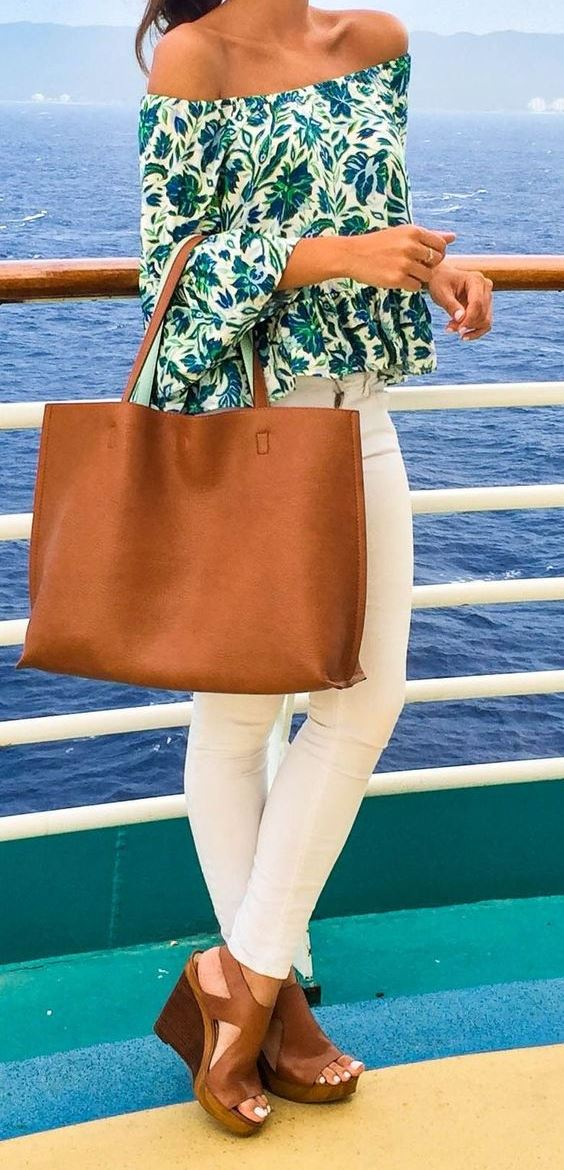 cyte summer outfit: printed top + bag + skinny pants