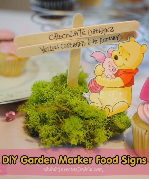 Director Jewels: DIY Winnie the Pooh Birthday Party Garden Marker Food Signs | Addie's Tea for 2 with Winnie the Pooh Party | directorjewels.com