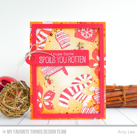 Handmade card from Amy Lee featuring Winter Warmth and Birdie Brown Santa's Elves stamp sets, Single Stitch Line Rectangle Frames and Tag Builder Blueprints 4 Die-namics #mftstamps