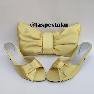Set Matching GOld Tas Pesta dan High Heels Sandal Mewah