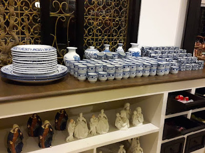 Blue and white kitchen cutlery at Farmhouse Susu Lembang Bandung