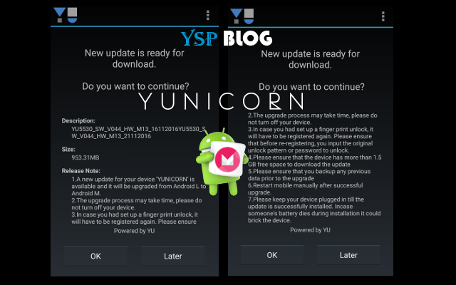 Android Marshmallow 6.0 update for YU Yunicorn ia available now