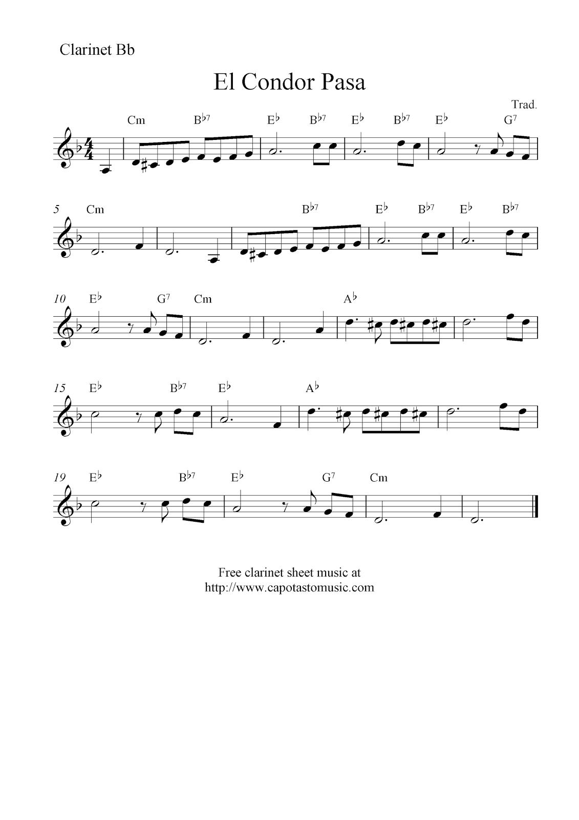 Free Printable Sheet Music Clarinet
