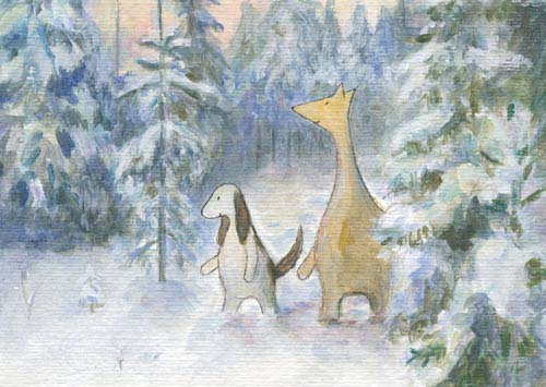 Postcard illustration of Hulmu Hukka and Haukku Spaniel walking in snowy forest in a winter day