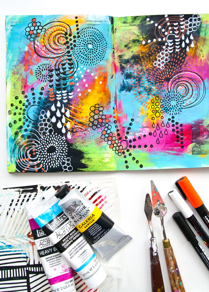 VIDEO: Doodle Art journal page by Kim Dellow