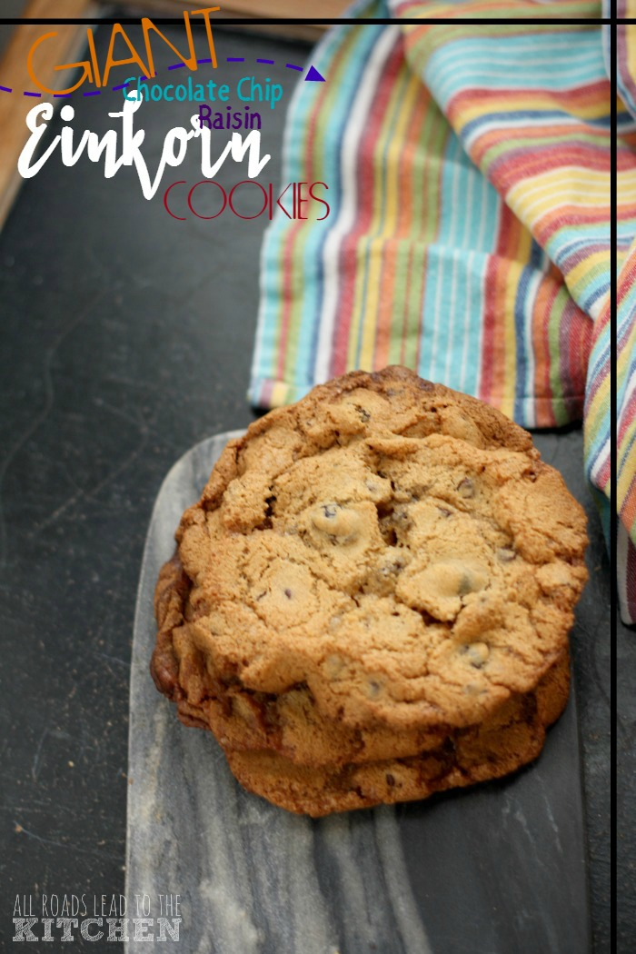 Giant Chocolate Chip Raisin Einkorn Cookies