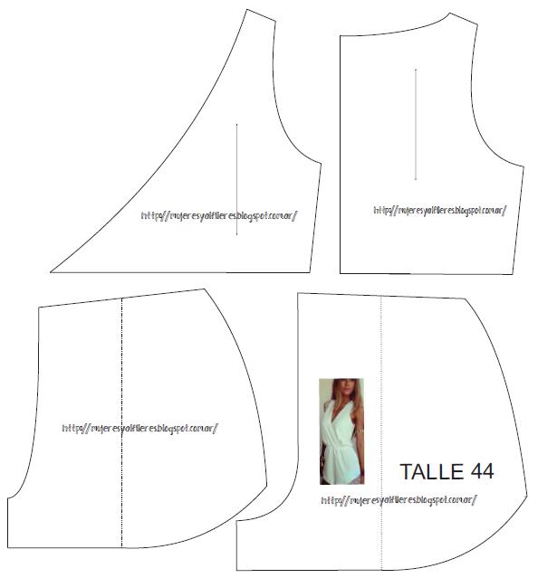 832aedbfecd6 Mujeres y alfileres: Molde Jumpsuit-mono corto para imprimir talle 44