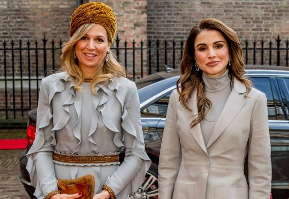 Queen Máxima wore Claes Iversen dress, Queen Rania wore Chloe suit