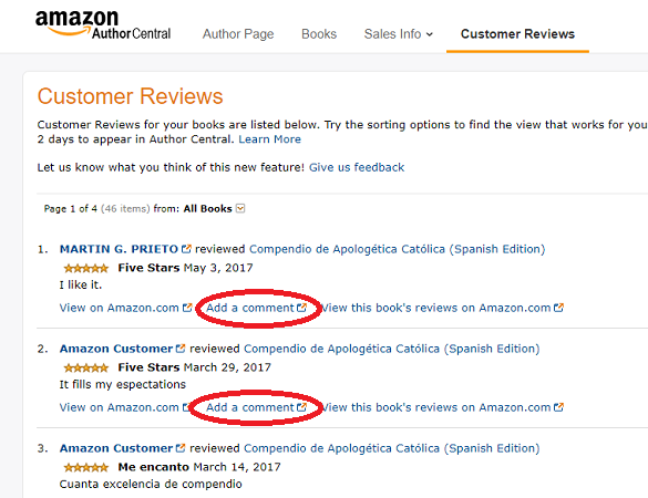 Amazon Author Central permite responder las reseñas