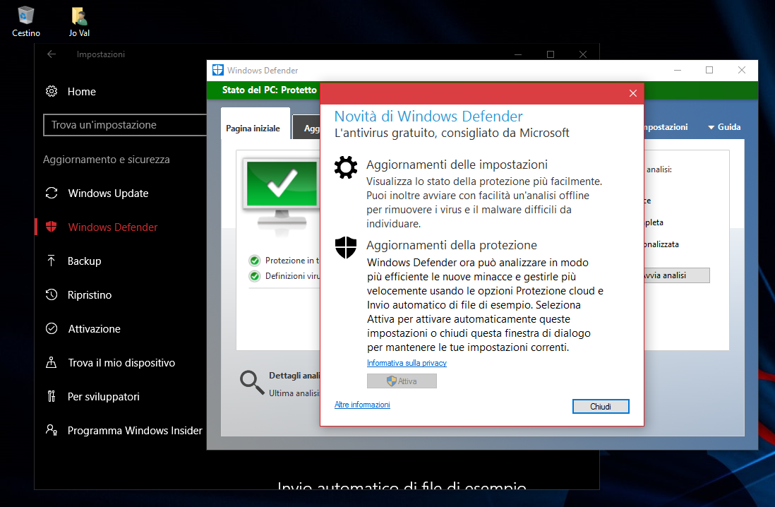 L'Antivirus Defender potenziato in Windows 10 Anniversary Update Jo Val