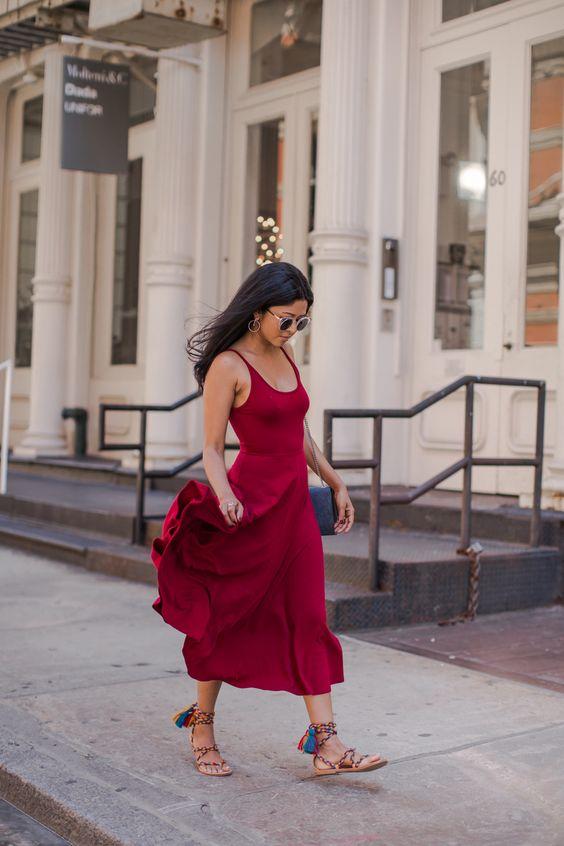 Walk In Wonderland - Red Maxi Dress + Saint Laurent Blue Denim Bag + Rainbow Tassel Lace Up Gladiator Sandals