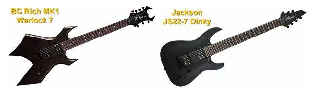 Guitarras Eléctricas de 7 Cuerdas BC Rich MK1 Warlock 7 y Jackson JS22-7 Dinky