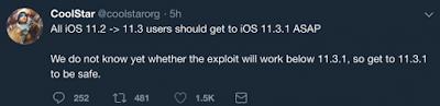 CoolStar2 PSA: Jailbreakers should prepare devices for an iOS 11.3.1 jailbreak ASAP iPhone Jailbreak