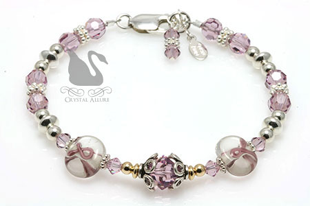 Lovely Lampwork Ribbon Cystic Fibrosis Awareness Bracelet (B151)