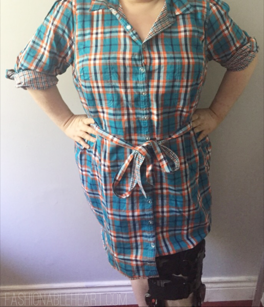 eshakti reversible plaid shirt dress plus size ootd outfit