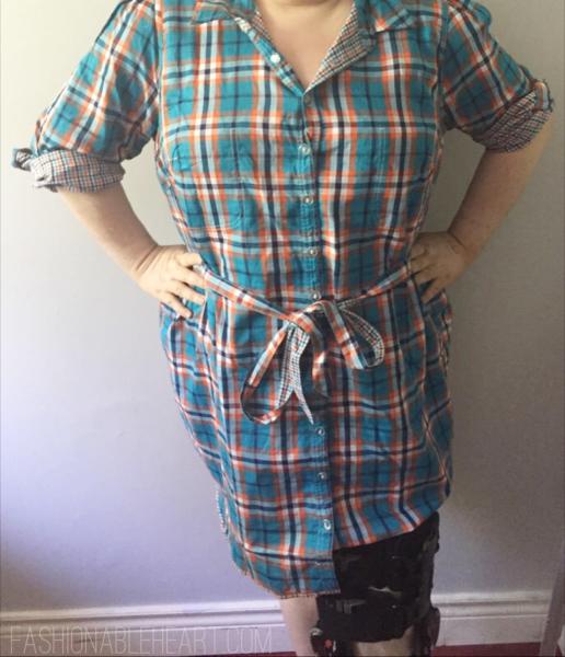 eshakti reversible plaid shirt dress plus size ootd outfit