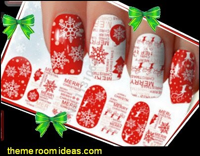 Red White Christmas New Year 3D Nail Stickers Nail Art Decorations