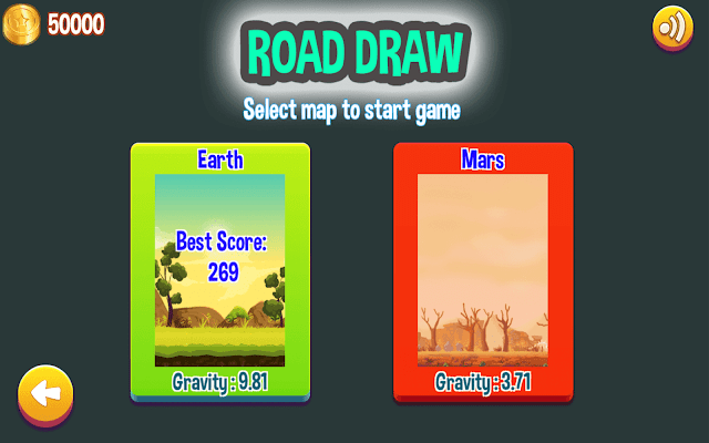 Road Draw Climb your own hills map selection menu