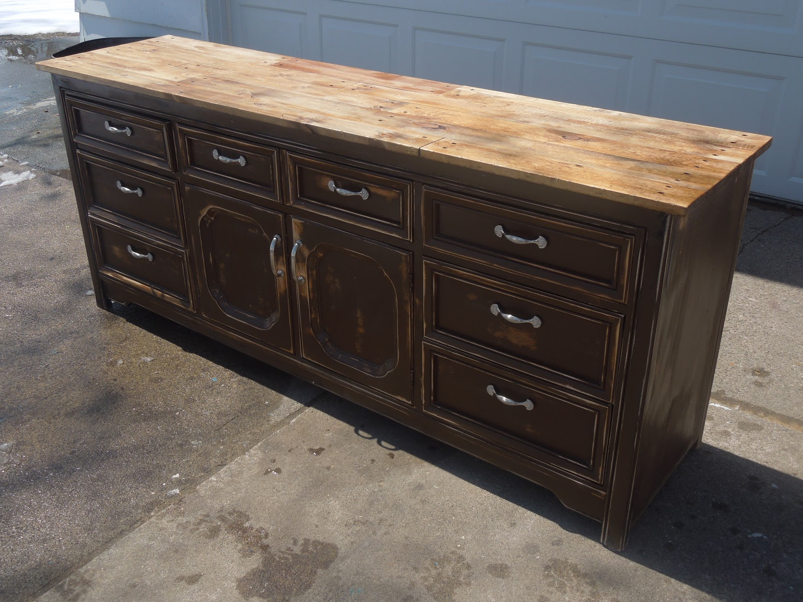 Tattered Lantern: Planked top 9 drawer Dresser/buffet (SOLD)