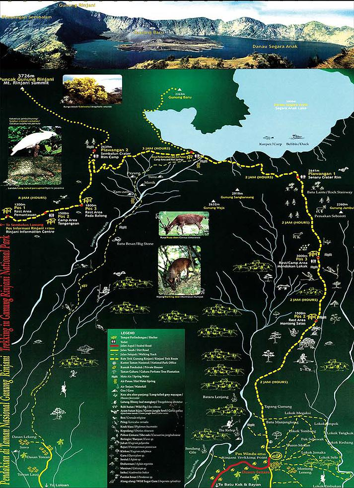 Map routes information Rinjani trekking