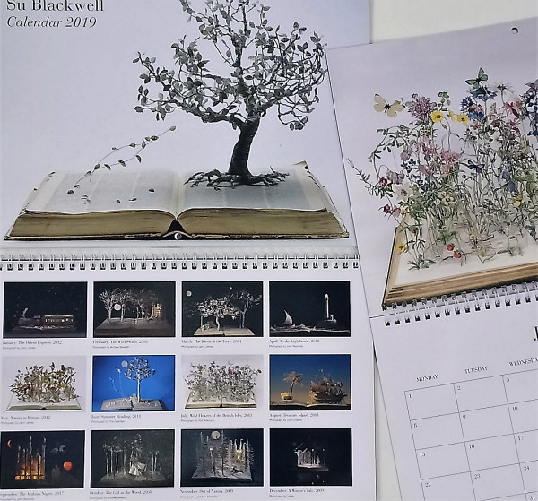 2019 calendar featuring altered book art image each month