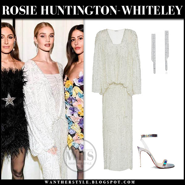 Rosie Huntington-Whiteley wears white sequin sparkly attico dress fashion week party outfits 2019