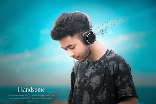 photo manipulation, musically attached, blue sky, boy listing music,