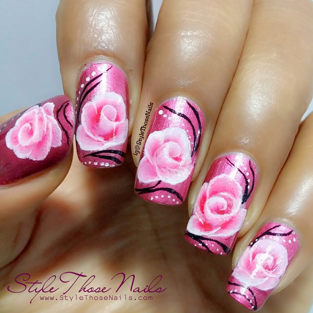 Style Those Nails: One Stroke Rose Nailart using Born Pretty Store ...