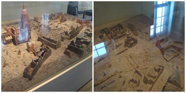 Maquete de Frankfurt destruída após Segunda Guerra Mundial