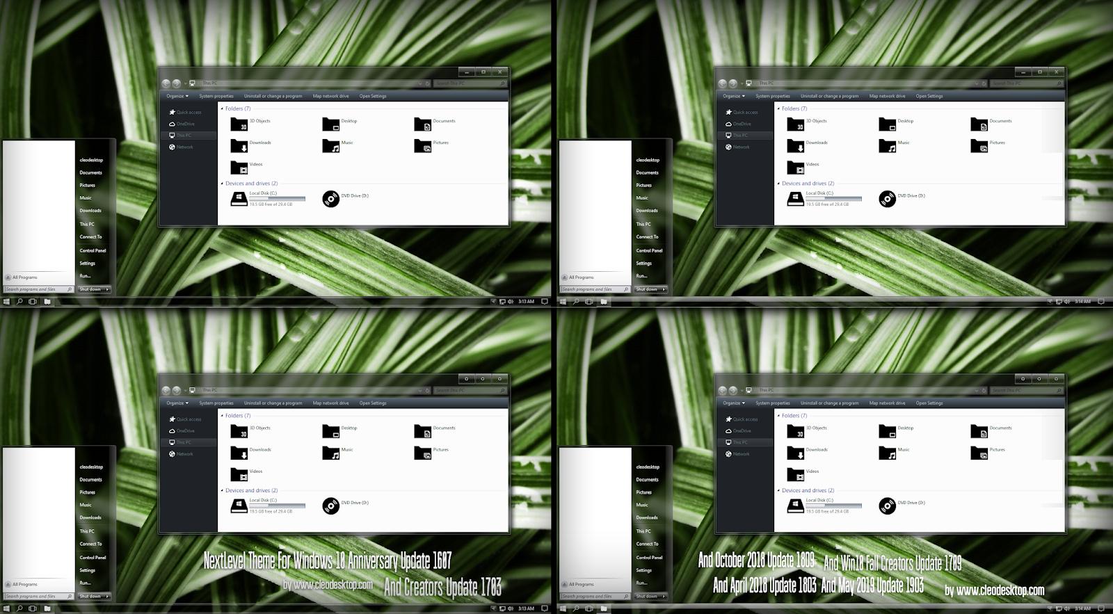 NEXTlevel Glass Theme Windows10 May 2019 Update 1903