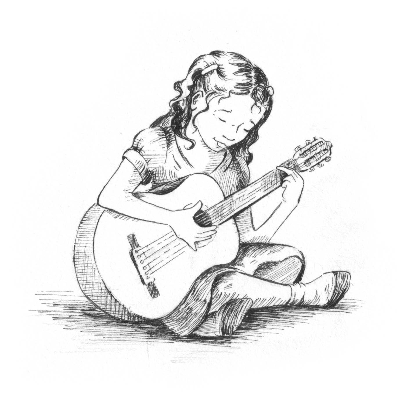 B e r a n d a k u selamanya cinta · guitar girl sketch